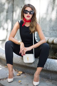 sunglasses and scarf with all black outfit