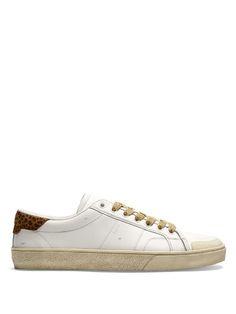 SAINT LAURENT Court Classic Distressed Leather Trainers.  saintlaurent   shoes  sneakers 78a2ca0c797