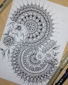 Flowers Drawing Doodles Mandalas 55 Best Ideas It is possible to work together with the pencil drawing technique to be a single color. On top of that, these studies wi. Doodle Art Drawing, Zentangle Drawings, Plant Drawing, Mandala Drawing, Pencil Art Drawings, Zentangle Patterns, Art Sketches, Drawing Flowers, Flower Drawings