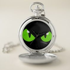 Cats eyes in the night VZS2 Enchanted Pocket Watch - cat cats kitten kitty pet love pussy