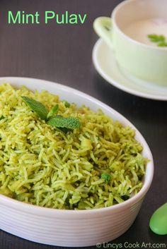 Mint Pulav/ Mint Rice/ Pudhina Sadam ~ Lincy's Cook Art in 2020 Vegetarian Rice Recipes, Curry Recipes, Lunch Recipes, Dinner Recipes, Best Rice Recipe, Andhra Recipes, Maharashtrian Recipes, Indian Dessert Recipes, Indian Recipes