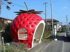 Strawberry Bus Stop in Japan! So cool