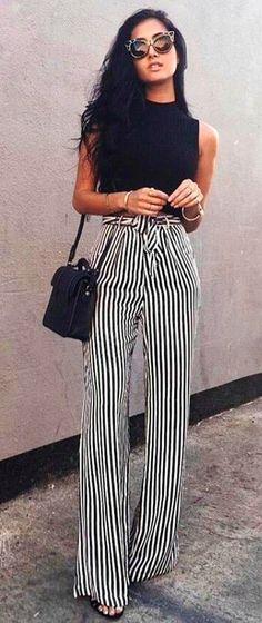 #summer #outfits Black Tank Striped Wide Pants Black Shoulder Bag