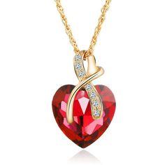 Cuore di Cristallo -  4 Colors Swarovski Crystal Heart Pendant Necklace