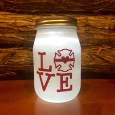 Custom Firefighter mason jar Firefighter night light, personalized Firefighter Gift This quart size frosted glass jar can be persona Firefighter Bar, Firefighter Crafts, Firefighter Quotes, Volunteer Firefighter, Fireman Wedding, Firefighter Wedding, Mason Jar Crafts, Mason Jars, Led Light Projects