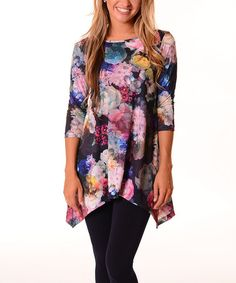 Another great find on #zulily! Black & Lavender Floral Sidetail Tunic #zulilyfinds