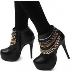Black High Heel Ankle Boots with Chain Detail