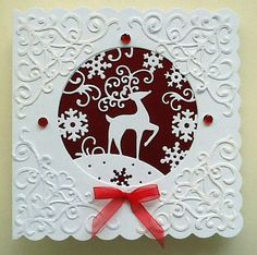 Christmas card using snow globe by tattered lace and spellbinders corners… Christmas Cards To Make, Christmas Deer, Christmas Makes, Merry Christmas And Happy New Year, Xmas Cards, All Things Christmas, Handmade Christmas, Holiday Cards, Christmas Quotes
