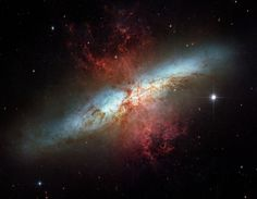 To celebrate the Hubble Space Telescope's 16 years of success, the two space agencies involved in the project, NASA and the European Space Agency (ESA), are releasing this image of the magnificent starburst galaxy, Messier 82 (M82). This mosaic image is the sharpest wide-angle view ever obtained of M82. The galaxy is remarkable for its bright blue disk, webs of shredded clouds, and fiery-looking plumes of glowing hydrogen blasting out of its central regions.