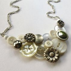 White Vintage Button Statement Necklace with by buttonsoupjewelry, $32.00