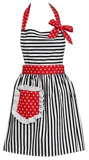 black, white, & red apron