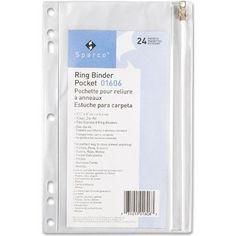 SPR01606 - Vinyl Ring Binder Pocket, 9-1/2x6, Clear