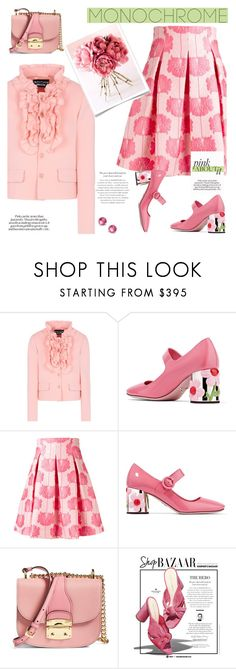 """Color Me Pretty: Head-to-Toe Pink"" by slavicabojanovic ❤ liked on Polyvore featuring Boutique Moschino, Prada, P.A.R.O.S.H., Miu Miu, Loeffler Randall, Ippolita and monochromepink"