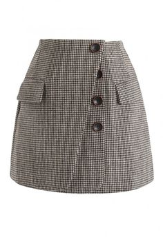 6ff14e02c0 Button Lovers Gingham Bud Skirt in Brown - NEW ARRIVALS - Retro, Indie and  Unique