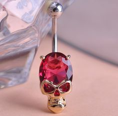 Fashion Cool Gold Ruby Zircon CZ Diamond Skeleton Skull Sex Body Piercings Navel Belly Ring Piercing Women Ombligo Punk Jewelry on Aliexpress.com | Alibaba Group