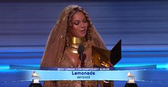 Beyoncé won the Best Urban Contemporary Album at last nights 59th Grammy award show. She graced the stage wearing all gold from head to toe as she elegantly embraced her pregnant belly and with poise, she articulated her heartfelt speech: Thank you to the Grammy voters... #beyoncé #renishamarie