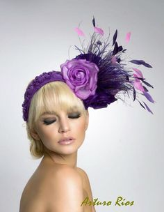 Purple fascinator-headpiece