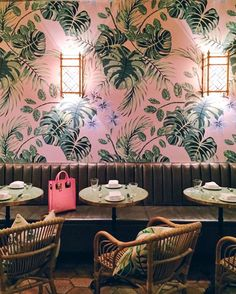 Beautiful cafe design with colorful wallpaper Architecture Restaurant, Hotel Restaurant, Restaurant Design, Coffee Shop Design, Cafe Design, House Design, Cafe Interior, Interior And Exterior, Interior Design