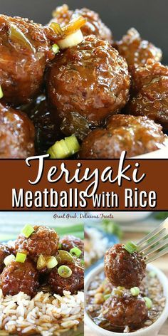 Teriyaki Meatballs with Rice are cooked in a sweet and savory sauce that gives these meatballs delicious flavor. Teriyaki Meatballs with Rice are cooked in a sweet and savory sauce that gives these meatballs delicious flavor. Meatballs And Rice, Teriyaki Meatballs, Appetizer Meatballs Crockpot, Recipes With Meatballs, Chinese Meatballs, Frozen Meatball Recipes, Dinner With Meatballs, Sauce For Meatballs Easy, Easy Meatball Sauce