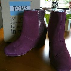 NIB TOMS suede wedge boots sz 7 Gorgeous wine crackled leather suede TOMS wedge boots. These are the Desert Wedge High. Brand new never worn. This is a case of buyer's remorse. I bought three pairs all at once and told myself I would return one. I never did and now it's too late but it's a great deal for whoever gets these! They are super comfortable like TOMS always are!  Comes in original box with TOMS sticker. TOMS Shoes Ankle Boots & Booties