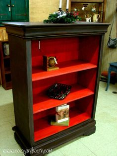 Old Chest Of Drawers Turned Into A Bookcase.I love that the inside is painted red Old Chest Of Drawers Turned Into A Bookcase.I love that the inside is painted red