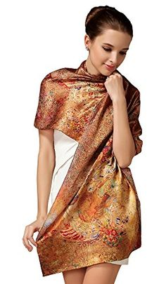 iF Silk Elegant Fashion 100 Silk Scarf Premium Shawl Wrap Art Oblong Flower Gathering ** Check out the image by visiting the link.  This link participates in Amazon Service LLC Associates Program, a program designed to let participant earn advertising fees by advertising and linking to Amazon.com.