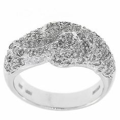 0.65 Cttw G VS Round Diamonds Cocktail Ring in 14K White Gold by GetDiamondsDirect on Etsy