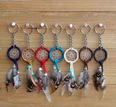 Mini Dream Catcher Keychain by ChasingDreamsCompany on Etsy production of thread-buttons Hey, I found this really awesome Etsy listing at… Dream Catcher Decor, Small Dream Catcher, Dreamcatchers, Fun Crafts, Diy And Crafts, Bracelet Fil, Bracelets, Diy Tumblr, Nativity Crafts