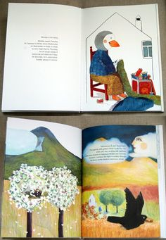 Monday by Anne Herbauts.  Really want to try get my hands on this book to see the different art techniques she uses in more detail.