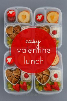 Easy valentine lunch packed in #EasyLunchboxes containers