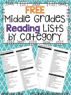 Book Recommendation Lists for Middle Grades {Freebie} | The Hungry Teacher