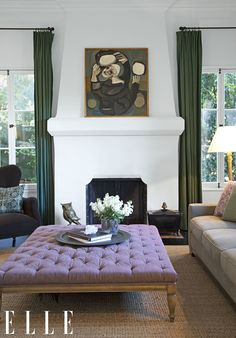 A large square lavender ottoman matches beautifully the emerald pops in the living room of Ginnifer Goodwin. Photo by Hilary Walsh via Elle Decor. Home Living Room, Living Room Decor, Living Spaces, Decoration Inspiration, Interior Inspiration, Ottoman Inspiration, Ottoman Ideas, Yoga Inspiration, Interior Ideas
