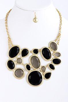 Chunky Black/ Hematite Acrylic Jewel Link Statement Necklace Set | eBay