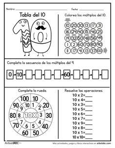 Operaciones de la tabla del 10 | Árbol ABC Kindergarten Addition Worksheets, 3rd Grade Math Worksheets, Homeschool Worksheets, 1st Grade Math, Worksheets For Kids, Primary Activities, Classroom Activities, School Organization Notes, Math School