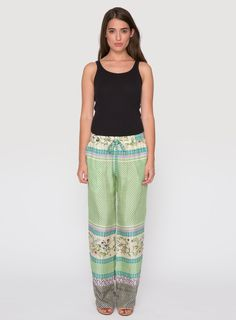 Johnny Was Collection Printed Silk Aztec Drawstring Pants