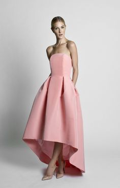 Silk faille Straight strapless neckline Fitted bodice with boning for support Seam at natural waist Pleated full skirt with high-low hem Side slit pockets Concealed back zipper Fully… Dream Dress, I Dress, Party Dress, Strapless Dress, 15 Dresses, Nice Dresses, Bridesmaid Dresses, Formal Dresses, Bridesmaids