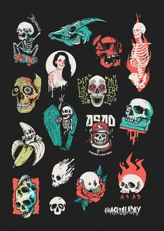 another skulls I designed between 2013 - 2018 for project Doodle Drawings, Tattoo Drawings, Traditional Tattoo Art, Ligne Claire, Halloween Painting, Flash Art, Skull Art, Graphic, Art Sketches