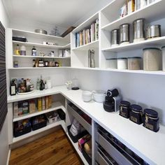 kitchen Layout With Butlers Pantry - Video Darren Palmer talks kitchens with real homeowner Meagan. Kitchen Butlers Pantry, Pantry Room, Kitchen Pantry Design, Butler Pantry, New Kitchen, Kitchen Storage, Kitchen Cabinets, Ikea Pantry, Cabinet Storage