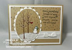 Stampin' Up! ... handmade winter card from Techno Stamper ... kraft with white adornments and black ink ... great sketch design ... great card!