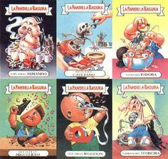 I totally have a collection of Garbage Pail Kids from whem I was younger!!!....Salieron los cromos de La pandilla basura (The Garbage Gang) y nos dejaron con el culo torcío.