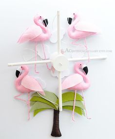 Pink Flamingo Baby Mobile, Baby Girl Nursery, Nursery Mobile, Baby Girl Mobile, Safari Mobile, Bird Baby Mobile, Flamingo Nursery by AContinualLullaby on Etsy https://www.etsy.com/listing/157917737/pink-flamingo-baby-mobile-baby-girl