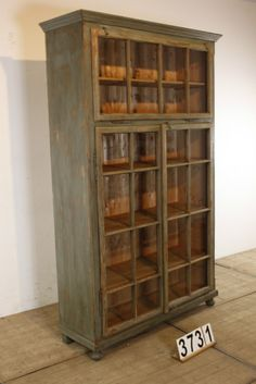 1 Vintage industrial style Glass cabinet / vitrine in wood, european 20 century, in restored condition for sale in 01 Industrial and vintage, Furniture | STEEN ANTIEK Almelo Holland | World wide shipping | Import & Export | Wholesale European Antique Furniture & Decoration | Free container p