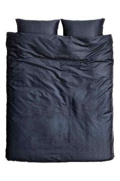 Parure de couette en satin: Parure de couette lit double en satin de coton à…