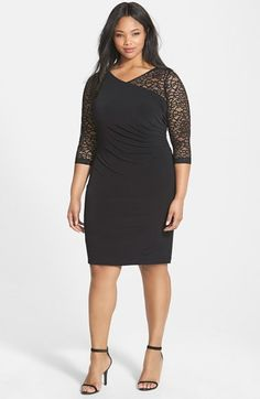 Calvin Klein Ruched Lace & Jersey Sheath Dress (Plus Size) at Nordstrom.com.