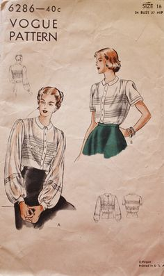 1940s Blouses with Tucks and Darts by BluetreeSewingStudio on Etsy, $15.00
