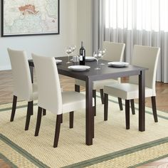 Add comfort to your dining room with this timeless styled dining set from CorLiving. This 5-piece set includes four cream leatherette parsons styled chairs and a matching rectangular table.