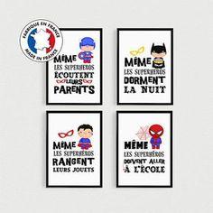 Lot de 4 Posters citations Super Héros pour enfant à disposer dans des cadres dans une chambre ou sdb. Affiche scandinave 29,90 €