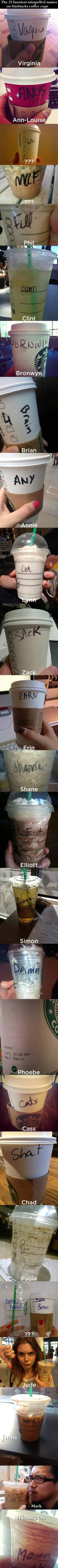 The 25 Funniest Misspelled Names On Starbucks Coffee Cups funny starbucks lol fail humor omg funny pictures wtf fails funny images