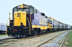 Santa Fe EMD CF7 diesel electric locomotive # 2649, rebuilt from a wrecked GP7B locomotive # 2788A, is seen leading a four unit set of freight designated F7's while hauling a manifest freight train at an unknown location, 1970.