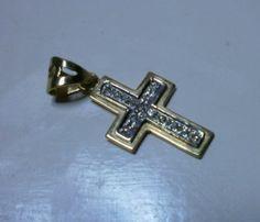 Croce in oro 18Kt bianco e giallo 0,35 ct diamanti-lavoraz. artigianale alt cm.3